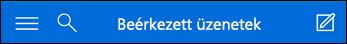 A mini Outlook Web App felső navigációs sávja