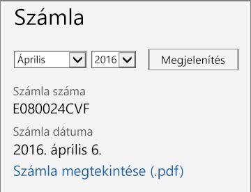 Képernyőkép az Office 365 Felügyeleti központ Számla részletei lapjának Számla szakaszáról.