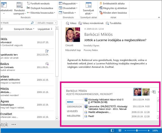 Az Outlook Közösségi Összekötő kibontva