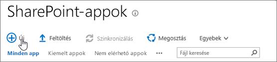 SharePoint-appkatalógus a kiemelt Új gombbal