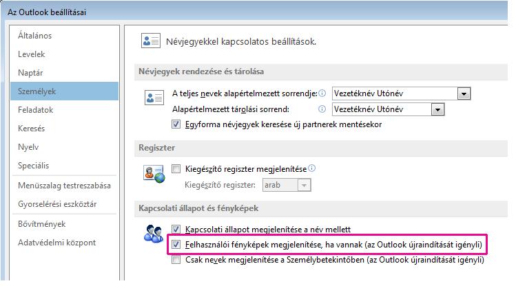 Az Outlook beállításai ablak képmegjelenítést engedélyező jelölőnégyzete