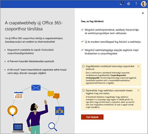 Ez a kép az Office 365 új létrehozási varázslójának első képernyőjén látható.
