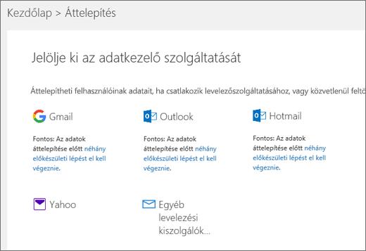 Az e-mail-szolgáltató kiválasztása