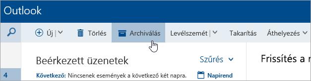 Képernyőkép az Archiválás gombról