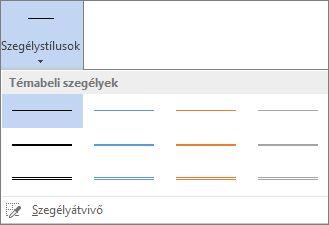 Táblázatszegély-stílusok