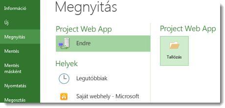 Tallózás gomb Project Web App-fájl megnyitásához