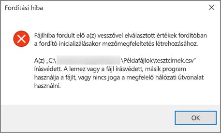 Ez a hibaüzenet jelenik meg, ha a .csv fájl nem megfelelően formázott adatokat tartalmaz.