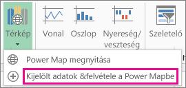 Kijelölt adatok felvétele a Power Mapbe parancs