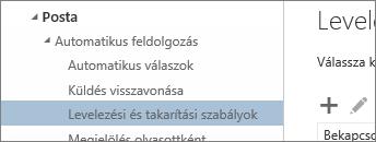 Képernyőkép a beállítások menüben a Beérkezett üzenetek és a takarítás szabályok