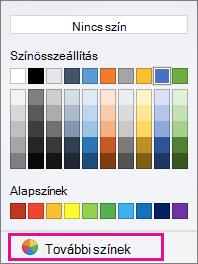 Színbeállítások mintázat további a kiemelt színt.
