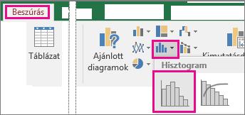 A Statisztikai diagram beszúrása gombra kattintva elérhető Hisztogramparancs