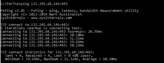 A PSPing parancs az outlook.office365.com pingelése által visszaadott IP-címre átlagosan 28 ezredmásodperc késést mutatott