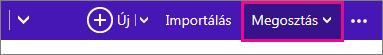 Outlook.com – kattintás a Megosztás gombra és a naptár kiválasztása
