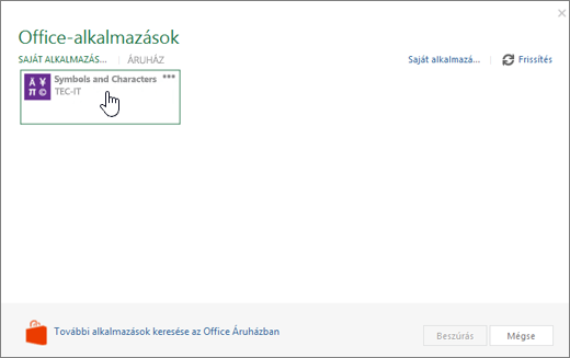 Képernyőkép a saját alkalmazások lapon az alkalmazások az Office lapon látható.