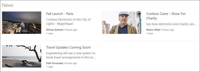 Képernyőkép egy SharePoint-webhely Hírek kijelzőéről, ahol a bejegyzések szűrve vannak