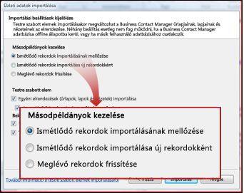 Az importálási ablak duplikált elemeket megjelenítő része