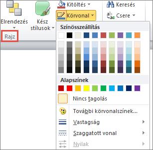 A PowerPoint 2010 szöveg mezőben alakzat körvonal menü