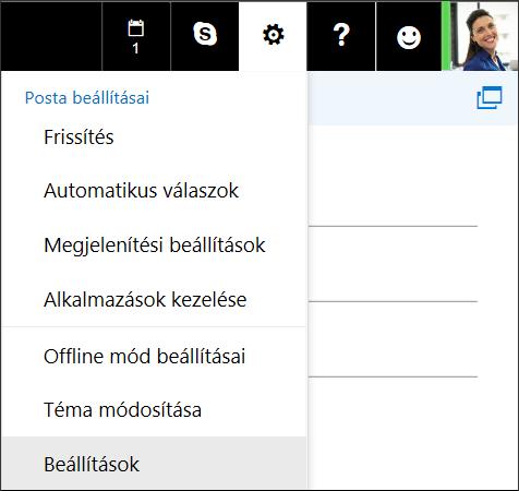 A Webes Outlook beállításai