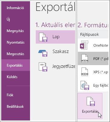 Képernyőkép: jegyzetlap exportálása a OneNote2016-ban.