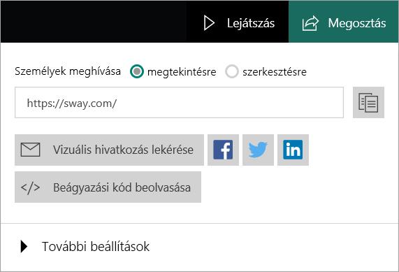 A Sway menüje Microsoft-fiókból