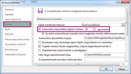 Mentés pont Az Excel beállításai párbeszédpanelen