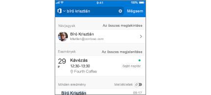 Outlook Mobile-naptár értekezletekkel a találatok között