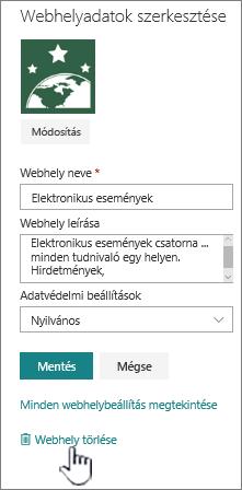 SharePoint-csoportwebhelyen tárolja a hely törlése