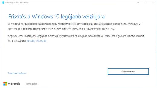 """Windows 10, 1809-es verzió párbeszédpanele, amely felszólítja a felhasználót arra, hogy """"Frissítsen a Windows 10 legújabb verziójára"""""""