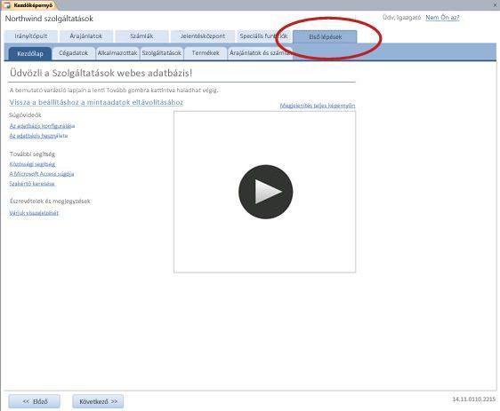 A Szolgáltatások webes adatbázissablon Első lépések lapja
