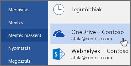 Rövid útmutató alkalmazottaknak: Mentés Wordből a OneDrive-ra