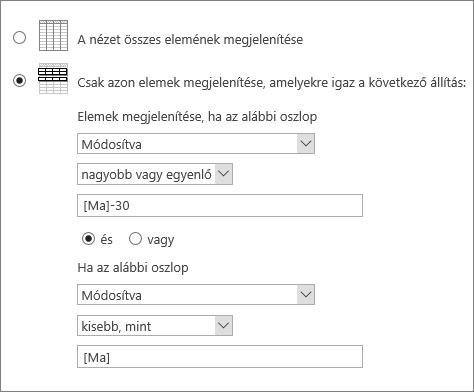 A [Ma] címkét használó szűrő
