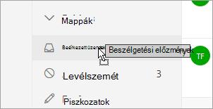Egy másik mappába húzott mappa szemléltető képernyőfelvétel