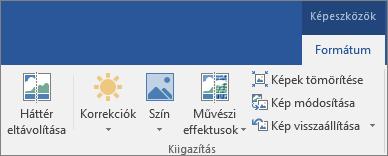 Az Office 2016 menüszalagjának Képeszközök eszközcsoportjában, a Formátum lapon található Háttér eltávolítása gomb