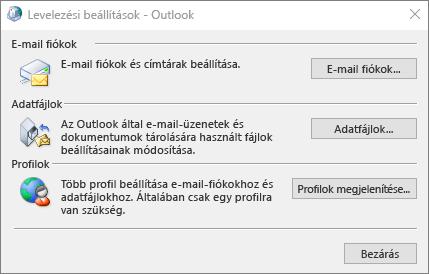 Levelezési beállítások – Az Outlook párbeszédpanelje, amely a levelezési beállítások között érhető el a Vezérlőpulton