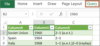 Selecting a cell in a query to reveal the Query tab
