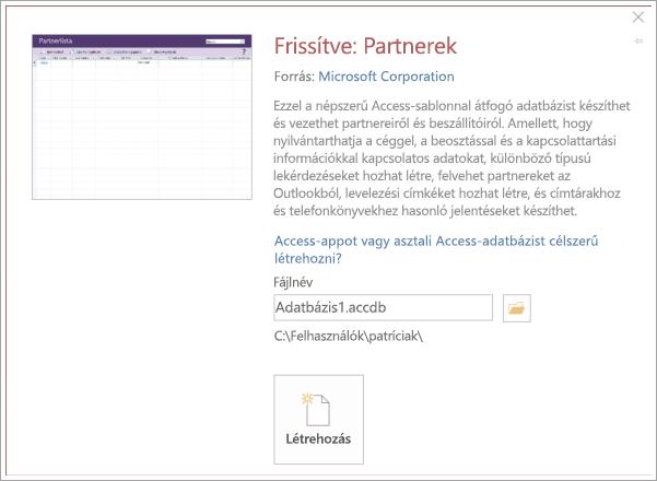Képernyőkép: partner lista felület