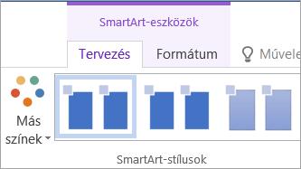 A SmartArt-eszközök Tervezés lapjának Más színek gombja