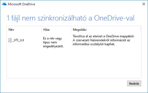 a OneDrive-fájlt nem lehet szinkronizálni
