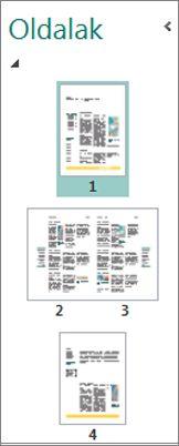 Az egyoldalas elrendezésű oldalakat és az oldalpárokat megjelenítő Oldalválasztás munkaablak