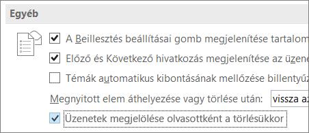 Az Üzenetek megjelölése olvasottként a törlésükkor jelölőnégyzet az Outlook Beállítások párbeszédpaneljén