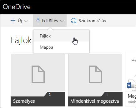 Képernyőkép: megosztás a OneDrive Vállalati verzióban