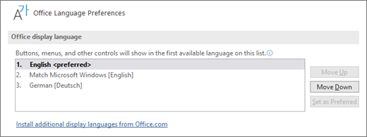 Az Office megjelenítési nyelve