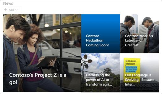 A hírek kijelző csempék elrendezése a SharePointban