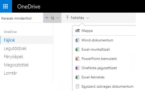 Képernyőkép: dokumentum létrehozása a OneDrive.com webhelyről