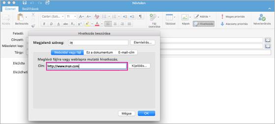 Hiperhivatkozás párbeszédpanel a Mac Outlookban