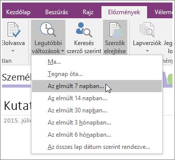 Képernyőkép a OneNote 2016 Legutóbbi változtatások gombjáról