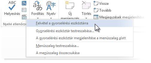 A Nyelvhelyesség ellenőrzése parancs hozzáadása a Word gyorselérési eszköztárához
