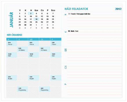 Heti diák-határidőnapló sablon (Excel)