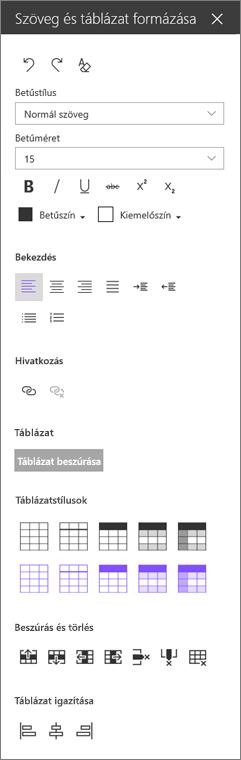 Szöveg webes rész formázás munkaablakban