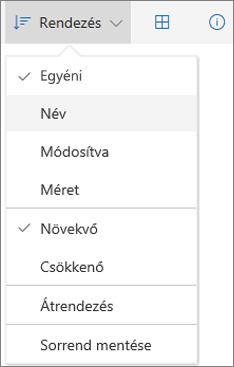 Képernyőkép a OneDrive Rendezés menüjéről